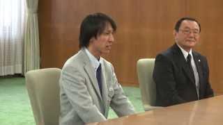 土屋ホームスキー部葛西紀明監督兼選手、伊藤有希選手の道庁への訪問