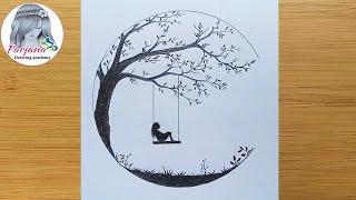 Alone Girl Swinging In A Tree || How To Draw A Sad Girl || كيفية رسم فتاة حزينة