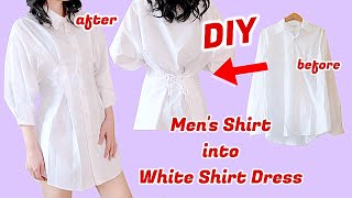 Refashion DIY Mens Shirt Into White Fitted Waist Shirt Dress / Thrifted Transformationsㅣmadebyaya
