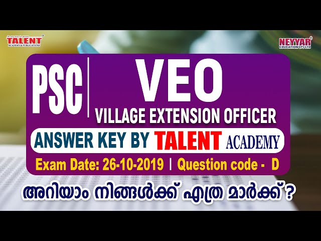 VEO ANSWER KEY (Village Extension Officer)
