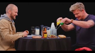 Gordon Ramsay on Hot Ones, but only the swearing.