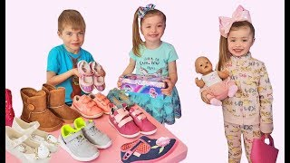 Funny Kids play in the Shoe store Cute Baby Doll Video for Children