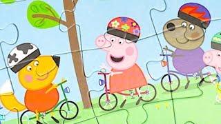 Свинка Пеппа собираем пазлы, играем в игрушки и сюрпризы