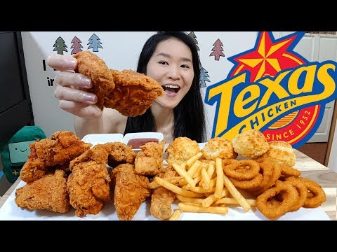CHURCH'S / TEXAS CHICKEN! Fried Chicken, Honey Butter Biscuits, Onion Rings   Eating Show Mukbang