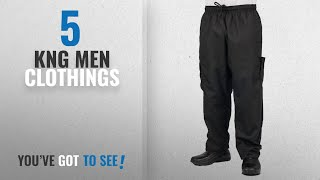Top 10 Kng Men Clothings [ Winter 2018 ]: Black Cargo Style Chef Pant, L