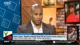 ESPN GET UP | Jefferson REACT to Kyle Lowry, Raptors bench lead 18-pt rout to even series 2-2