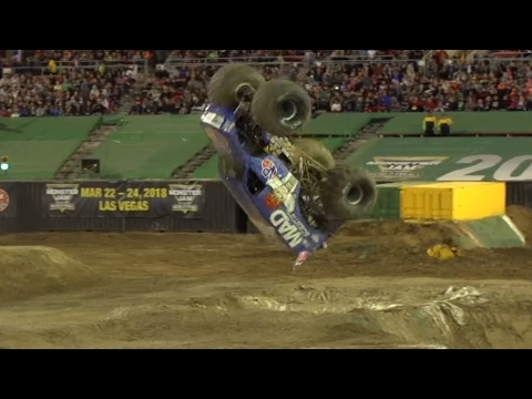 Monster Truck successfully lands the first front-flip ever.