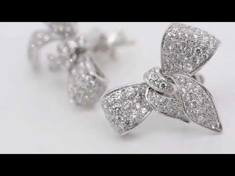 Aretes Damiani Colección Fiocco con diamantes en oro blanco 18k