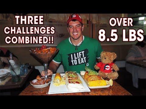THREE Food Challenges in ONE Sitting?? (2 Burritos + Chocolate Nachos)