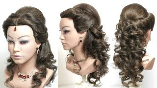 Curly Bridal Hairstyle For Long Hair.  Half Up Half Down Hairstyles