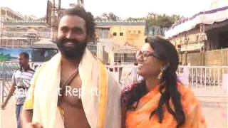 Dancer Master Raghu With His Wife In Tirumala Temple