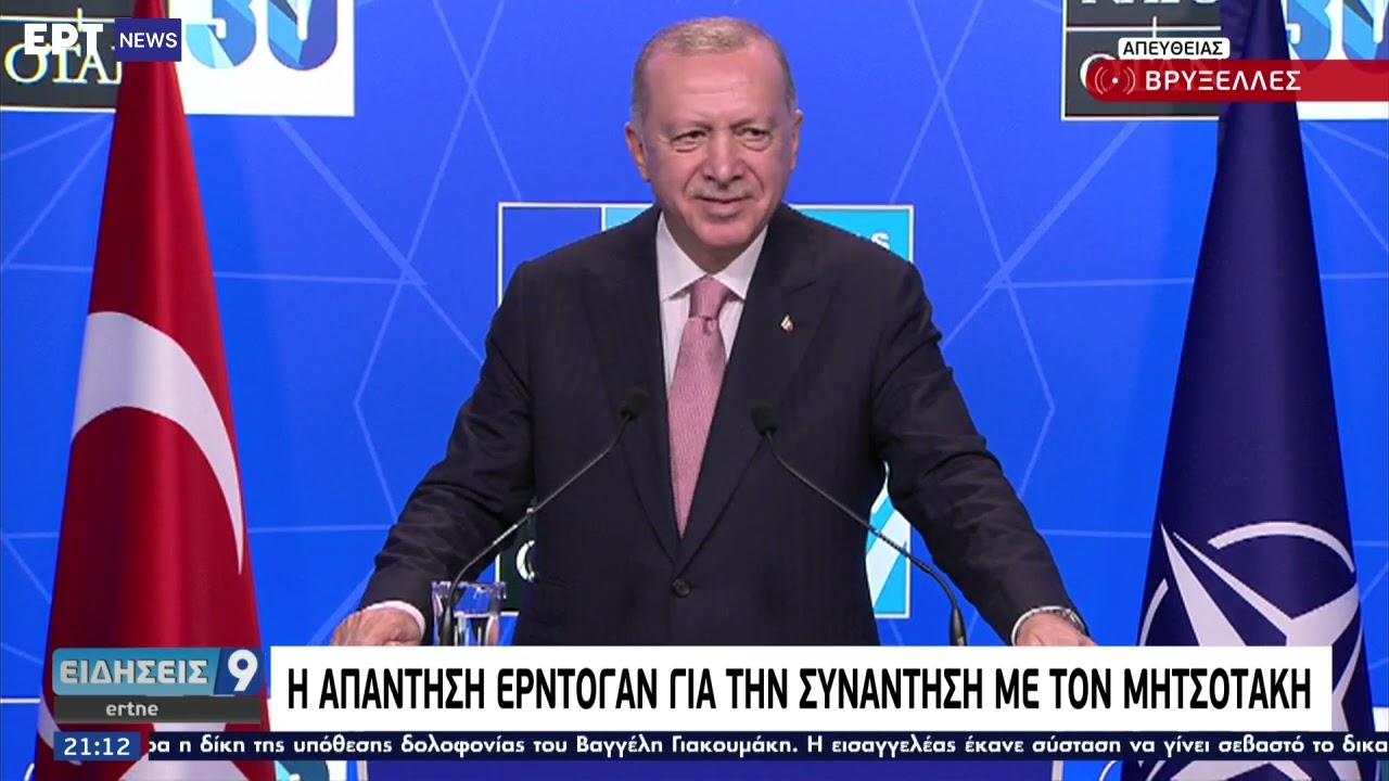 Ερντογάν: Το 2021 θα είναι μια «ήσυχη χρονιά» για τις ελληνοτουρκικές σχέσεις ΕΡΤ 14/06/2021