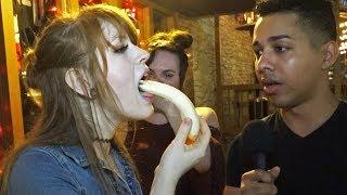 Girls Deepthroating a Banana for FAKE $100 Bills Prank