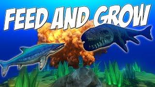 НУБ НАПАДАЕТ НА МОЗАЗАВРА, РЫБА ДИНОЗАВР  | Feed and Grow: Fish