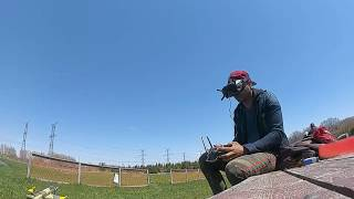 Racing drone following a E-flite Timber X