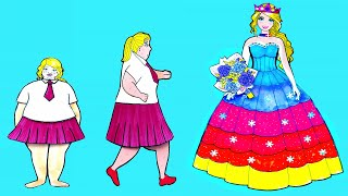 Paper Dolls Dress Up - Fat Skirt Prom Costumes Dresses Handmade Quiet Book - Barbie Story & Crafts
