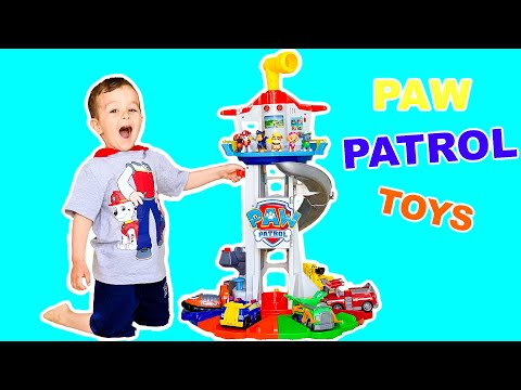 NEW Paw Patrol Toys Lookout Tower Unboxing With Chase Marshall Sky Rubble Rocky Zuma