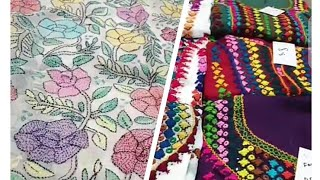 Balochi Embroidery Designs   Hand Embroidery Kacha Tanka   Pure Chiffon Dresses