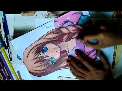 Gambar Anime Menggunakan Pensil Warna