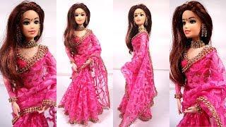 Gorgeous Barbie PINK NET SAREE Making  Beautiful Party Wear Doll Dress  Stylish Barbie Saree Draping