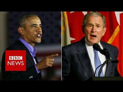 Former Presidents Obama and Bush decry Trump era politics - BBC News