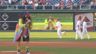 Pierre Robert Throws First Pitch at Phillies Game