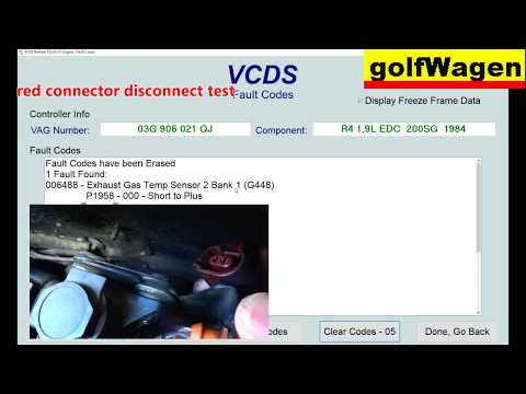 VW PASSAT TDI G-235 EXHAUST GAS TEMERATURE SENSOR BANK 1 LOCATION