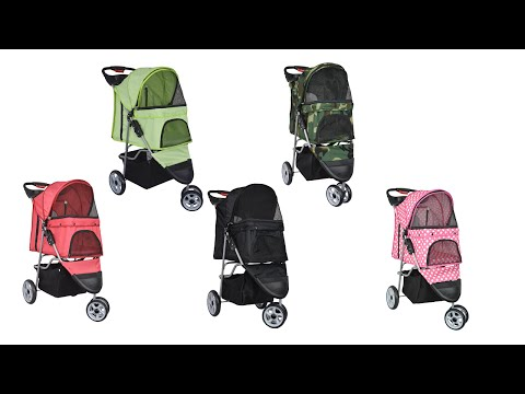 VIVO Three Wheel Pet Stroller / Cat & Dog Foldable Carrier Strolling Cart