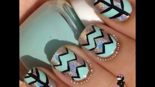 Chevron Tape Pattern Nails By The Crafty Ninja