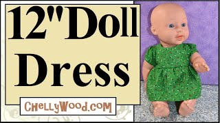 Free Doll Clothes Patterns: 12 Inch Baby Doll Dress With Gathered Sleeves