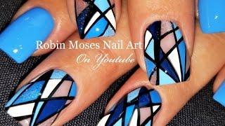 Geometric Stripe Nails | Diamond Blue Nail Art Design Tutorial