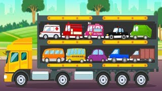 Car Transporter City Vehicles Names And Sounds Video For Toddlers | Street Vehicles Video For Kids