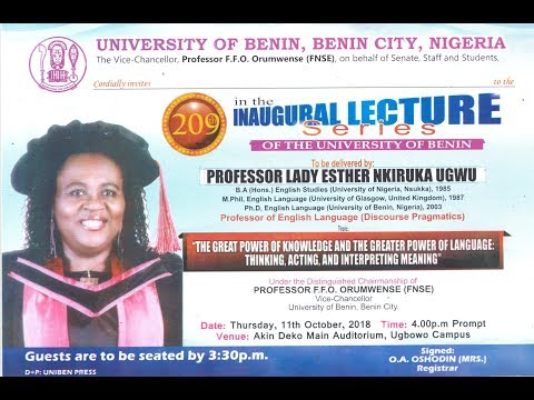 209 Inaugural Lecture Live Event