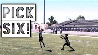 HE GOT A PICK SIX!   YOUTH FLAG FOOTBALL GAME NFL PLAY 60