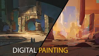 Two Environment Sketches: Digital Painting Process