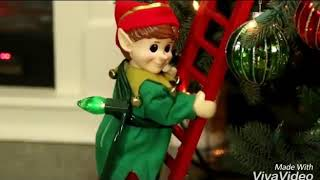 Santa's Little Helper Elf Climbing Up Ladder Christmas Animated Decor Yard Prop