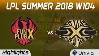 FPX vs SS Highlights Game 1 LPL Summer 2018 FunPlus Phoenix vs Snake Esports by Onivia