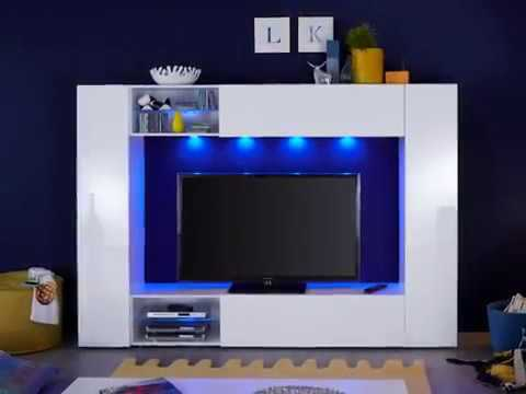 Wohnwand Boost in weiß Hochglanz Fernsehschrank inkl. LED Beleuchtung