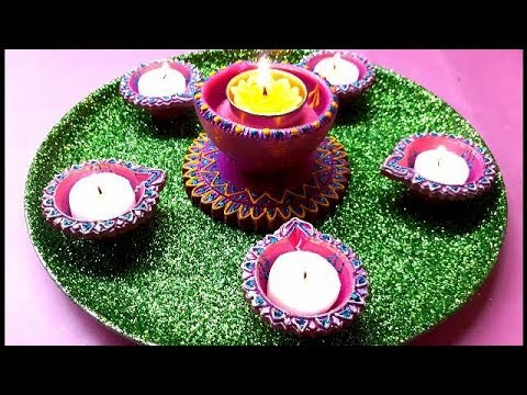 DIY Pooja Thali Decoration for Diwali Festival/ Simple and Easy Pooja Thali Decorations Idea/ Arti.