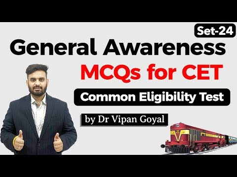 General Awareness MCQs for CET Common Eligibility Test Dr Vipan Goyal StudyIQ Set 24 #CET #NRA #NTPC