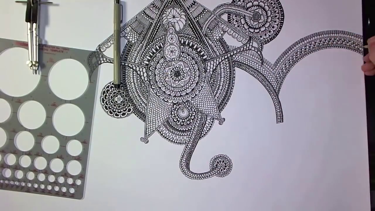 big mandala drawing speed art by peter