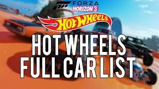 Forza Horizon 3 Hot Wheels Full Car List