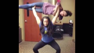 Muscle girl overhead lift carry