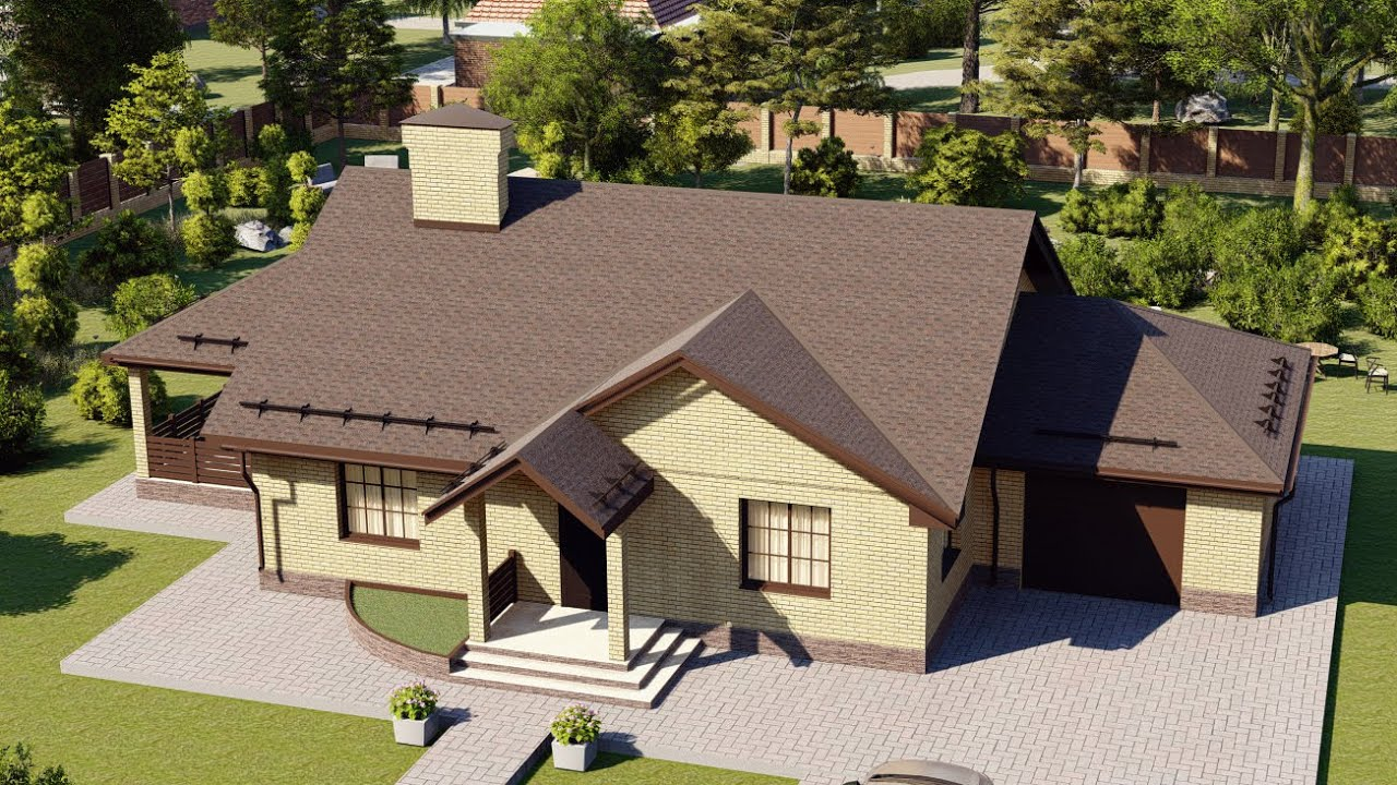 Проект небольшого одноэтажного дома с гаражом и террасой 133 м2