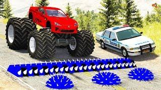 Beamng drive - Police Spike Strip Crashes #4 (spike strip crashes)