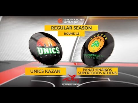 EuroLeague Highlights RS Round 15: Unics Kazan 83-81 Panathinaikos Superfoods Athens