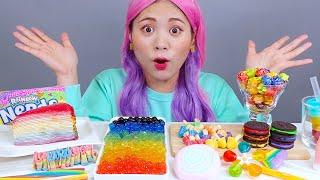 Mukbang Rainbow Crepe Cake 레인보우 크레이프 케이크 DONA 도나 먹방