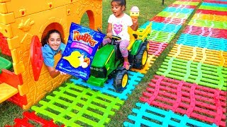 Esma and Asya Pretend play with market shopping for kids video