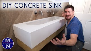 DIY Concrete Sink & Countertop ll Small Bathroom Renovation