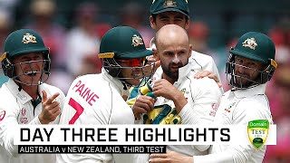 Nathan Lyon has put Australia on track to finish off their perfect summer, going to stumps on day three of the third Domain Test at 0-40 and leading New Zealand by 243 runs.